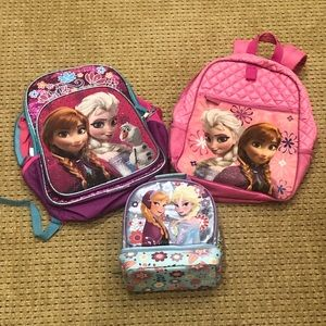 Girls Frozen Backpack And Lunch Bag Bundle